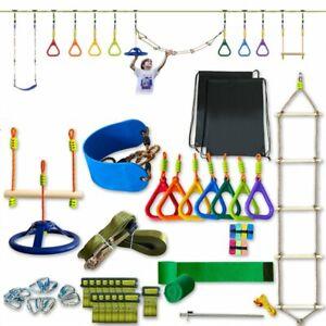 Ninja Warrior Obstacle Course for Kids 50ft Ninja Slackline Outdoor Jungle Gym