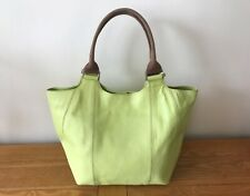 BODEN LIME GREEN LEATHER BUCKET HANDBAG WITH STEM PRINT LINING