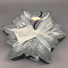 x4 Akcam Silver Snowflake Glass Plate Set Appetizer Dessert Christmas Decor New