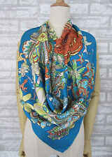 Woman's Deep Blue Flower's Song 100% Silk Twill Square Scarf 34""