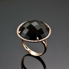 FACETED SMOKEY TOPAZ & HALO 0.50 CT. GENUINE DIAMOND RING 14K ROSE PINK GOLD US7