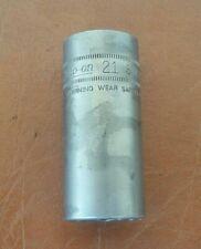 """Vintage Snap-On Tools USA 3/8"""" Drive 6pt 21mm Metric Deep Impact Socket SIMFM21"""