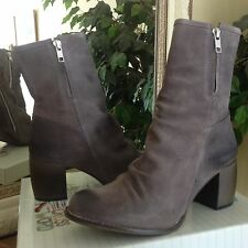 Jeffrey Campbell Ruched Grey Suede Womens Zip Ankle Boot 7/38 MSRP $210