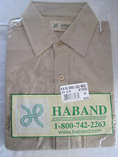 HABAND TAN BUTTON DOWN SHORT SLEEVE POLYESTER SHIRT SIZE M - BRAND NEW
