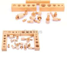 Wooden Montessori Educational Material - Knobbed Cylinder Family Set