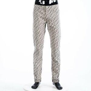 DIOR 1500$ Slim Fit Dior Oblique Jeans In Black & White Cotton