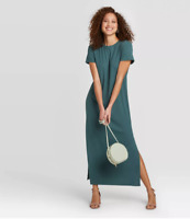 Women's Short Sleeve T-Shirt Dress - A New Day - Green - M - C574