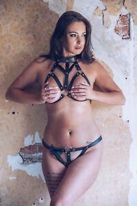 Womens Leather Straps Kinky Bra and Thong set for Bondage Fetish BDSM  #7880