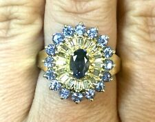 Estate Beautiful Amethyst & Genuine Diamond Solid 14K Yellow Gold Cocktail Ring