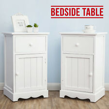 A Pair of Wooden Bedside Cabinets White Cupboard Tables with Drawer & Door