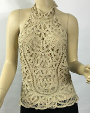 Ralph Lauren Blue Label Cotton Eyelet Lace Halter Top Beige Womens 8