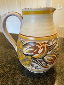 Poole Pottery jug, yellow, brown