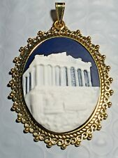 *NEW LISTING* Large Raised Relief ACROPOLIS Cameo Pendant midnight blue/gold