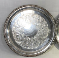 "Wm Rogers trays-round silverplate 12.25"" platters #171 vintage etched (lot of 2)"