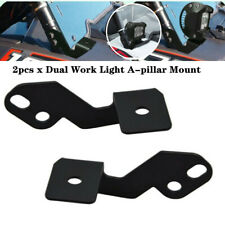 2xDual UTV ATV Work LED Light A-pillar Strip Mount Bracket Fit For RZR XP 1000