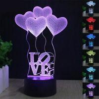 3D Illusion LED Lamp 7Color Desk Lantern Night light Kid Gift Her Valentine Day