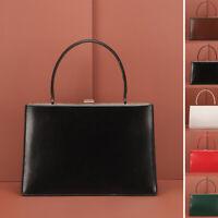 Real Leather Handbag Clutch Purse Baguette Top Handle Briefcase Grab Bag Trunk
