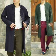 Chinese Traditional Men Leisure Cotton Linen Kung Fu New Jacket Coat Long Trench