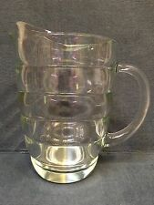 Vintage Clear Glass Ribbed Beehive Pitcher Lemonade Iced Tea