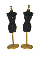 2x BLACK DOLL SIZED PLASTIC MANNEQUINS WITH STANDS MADE FOR BARBIE DOLLS UKSELL