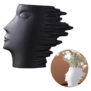 Ceramic Flower Vase Abstract Human Face Statue Planter Home Flowerpot Decor