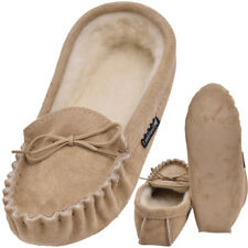 Lambland Mens Sheepskin Suede Moccasin Slippers With Soft Suede Sole - Beige UK 9