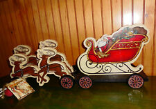 Very Rare Tom Baldwin Lost Arts Wood Carved Reindeer Sleigh Set Brand New