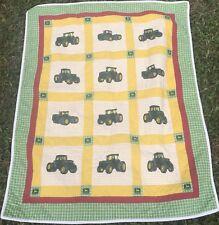 John Deere Quilt Baby Blanket Yellow Green White Shower Nursery Tractor Gift