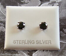 5mm Created Black Diamond Studs Earrings 925 Sterling Silver Mens Boys womens