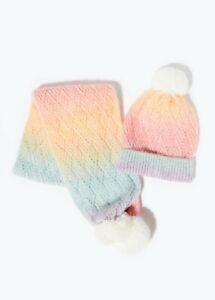 Kids Girls Rainbow Bobble Hat & Scarf Set (3-6yrs)