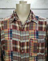 Orvis Long Sleeve Mens Shirt Madras Patchwork Plaid Multicolor Sz XL Cotton