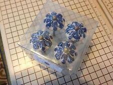 "Estate NIB Jessica McClintock Home Ceramic Drawer Pulls Knobs 1.5"" Dia 4 in box"