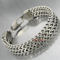 Men Women Stainless Steel Franco Chain Bracelet Two-Strand Curb Wristband Silver