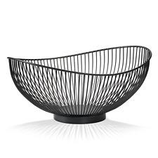 Moderne Obstschale // Metall // Stahlgrau - Schwarz // dekorativer Designer Obst