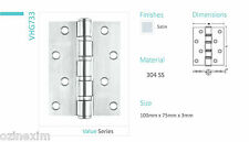 2Pcs Architectural Heavy Door Hinges Incl Screws 100x75x3mm 304 Stainless Steel