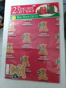 """Vintage Jeanmarie Christmas Gift Bags- 2 King Size (117/8"""" x 17"""" ) plus Self..."""