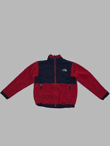 $495 The North Face Kids Boys Red Denali Fleece Logo Full-Zip Logo Coat Jacket M