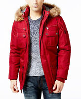 NEW INC INTERNATIONAL CONCEPTS REMOVABLE FAUX FUR HOOD RED TOPPER COAT JACKET