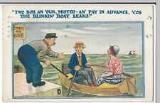 Boating Comic PPC, 1925 Rhyl PMK, by HB Ltd, Pay in Advance, The Boat Leaks