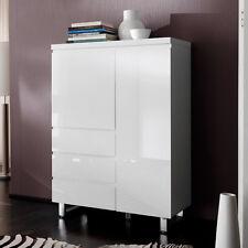 Kommode Sydney Schrank in weiß Hochglanz lackiert mit 2 Türen 3 Schubkästen