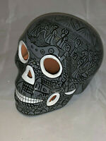 Calavera Sugar Skull Grey & Black Glazed - Mexican Pottery - Suns & Pyramids #3