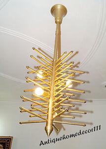Collectible Modern Vintage Brass Finish Atomic Sputnik Chandelier Fixture 1950s