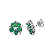 Emerald Earrings Silver Stud Sterling Silver Platinum Plated Studs