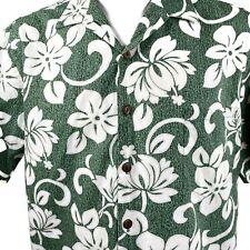 Hilo Hattie Flora White Flowers Large Green Hawaiian Aloha Shirt