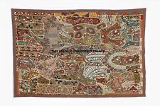 INDIAN EMBROIDERED VINTAGE BEADS ZARI WORK WALL HANGING HAND TAPESTRY DECOR ART