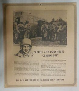 Campbell's Soup Ad: Coffee and Doughnuts Coming Up ! from 1940's 10 x 11 inches