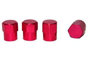 4 x RED HEX METAL TYRE VALVE DUST COVER CAPS CAR MOTORBIKE BIKE VAN