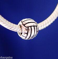 Volleyball Girls Men Women's Team Beach Summer Silver European Charm Bead
