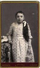 A. SILLANS VOIRON Little girl jolie enfant sac à la main fashion CDV photo 1900