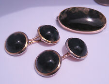 Antique Art Deco 14K Gold Moss Agate Quartz Cabochons Cufflinks & 10K Pin Brooch